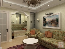 Фото дизайн интерьера однокомнатной квартиры площадью 40м2 на ул.Извилистая, г.Ростове-на-Дону