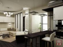 Фото дизайна интерьера однокомнатной квартиры площадью 50 м.кв. в ЖК Северная звезда, г.Батайск